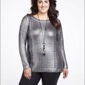 NWOT Addition Elle Jeanne Beker metallic sweater